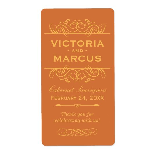 Orange Wedding Wine Bottle Monogram Favour Labels