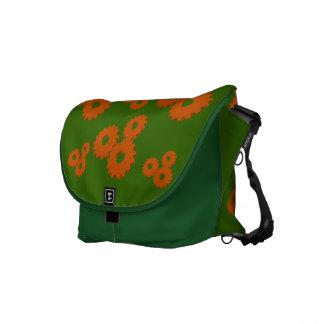 Orange Wheels circles theme green messenger bag