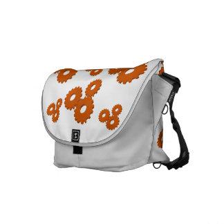 Orange Wheels circles theme messenger bag