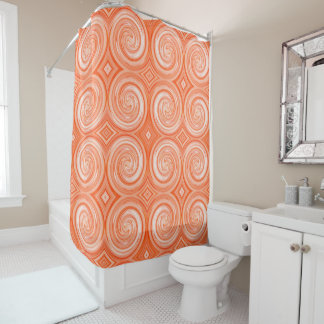 Orange White Abstract Swirl Pattern Shower Curtain