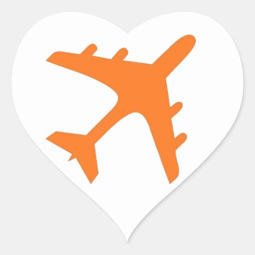 Orange white airplane design heart sticker