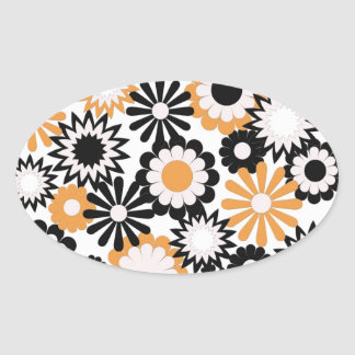 Orange, white, and black floral stickers
