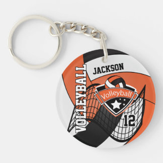 Orange, White and Black Personalize Volleyball Key Ring
