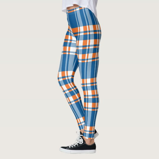 Orange white and blue plaid pattern leggings