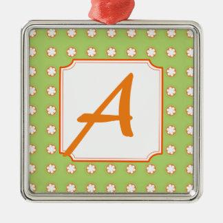 Orange & White Apple Blossoms Silver-Colored Square Decoration