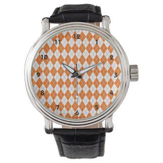 Orange & White Argyle Watch