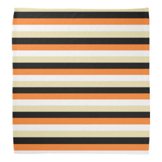 Orange, White, Beige and Black Stripes Bandana