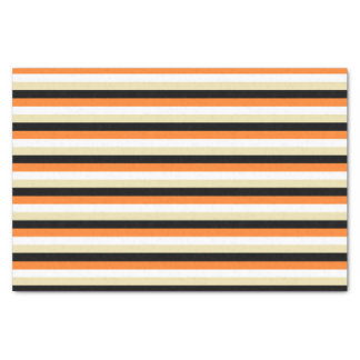 Orange, White, Beige and Black Stripes Tissue Paper