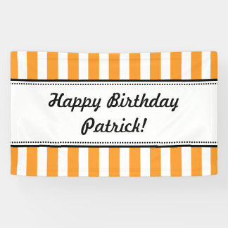 Orange White Birthday Banner Stripes