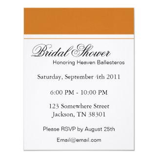 Orange & White Bridal Shower Invitations
