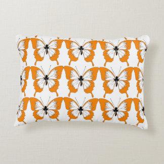 Orange & white butterfly pillow