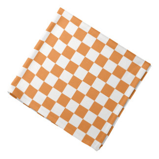 Orange White Checkerboard Pattern Bandana
