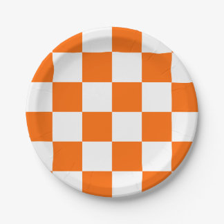 Orange/White Checkered 7 Inch Paper Plate