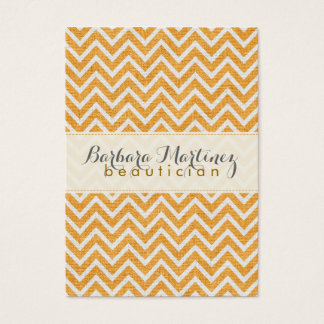 Orange & White Chevron Pattern Linen Texture 2 Business Card