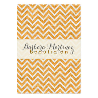 Orange & White Chevron Pattern Linen Texture 2 Pack Of Chubby Business Cards