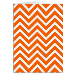 Orange white chevrons stripes pattern greeting card