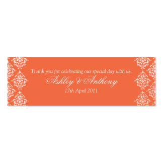 Orange White Damask Floral Wedding Favour Tags Double-Sided Mini Business Cards (Pack Of 20)
