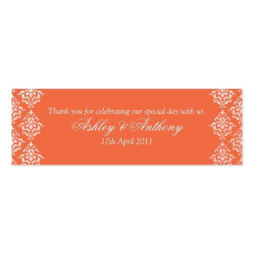 Orange White Damask Floral Wedding Favour Tags Business Card