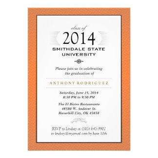 Orange & White Formal Graduation Invitation