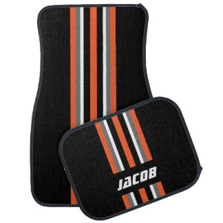 Orange, White, Gray Race Stripes on Black Floor Mat