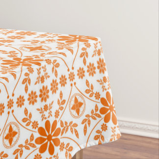 Orange White Old English Floral Tablecloth