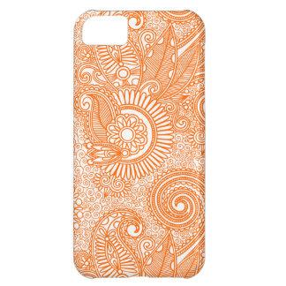 Orange & White Ornate Vintage Floral Paisley iPhone 5C Case
