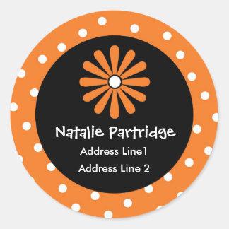 Orange & White Polka Dot Address Labels Round Sticker