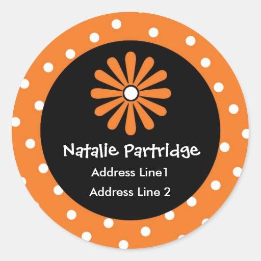 Orange & White Polka Dot Address Labels Stickers