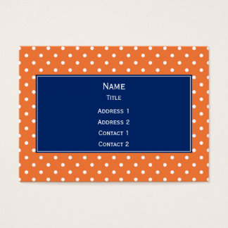 Orange, White Polka Dot with Royal Blue Business Card