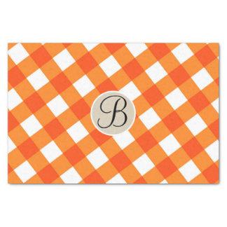 Orange White Rustic Country Fall Monogram Initial Tissue Paper