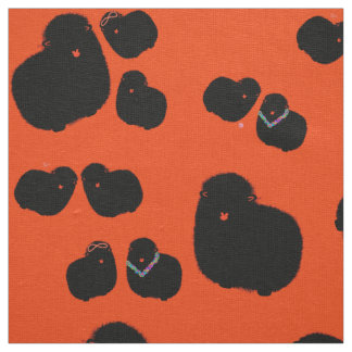 Orange white sheep fabric