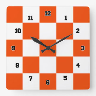Orange White Squares Decorative Wall Clock