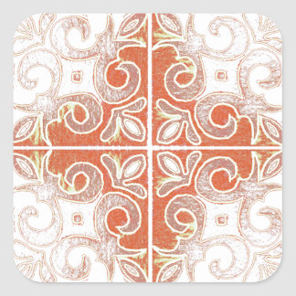 Orange White Swirl Inspired by Portuguese Azulejos Square Sticker