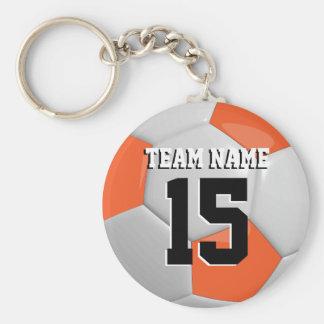Orange & White Team Soccer Ball Basic Round Button Key Ring