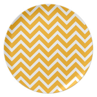 orange white zig zag pattern design dinner plates