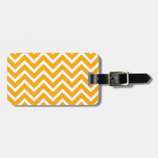 orange white zig zag pattern design luggage tag