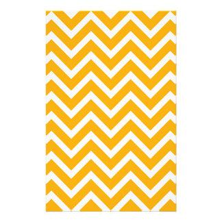 orange white zig zag pattern design stationery