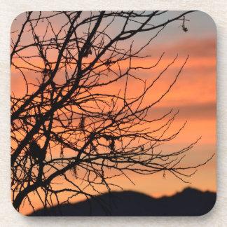 Orange Winter Sky Drink Coaster
