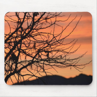 Orange Winter Sky Mouse Pad
