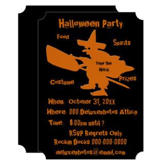 Orange Witch Halloween Party Invite