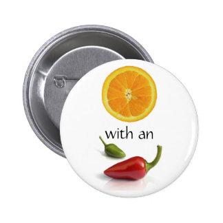 Orange With an Attitude I 6 Cm Round Badge
