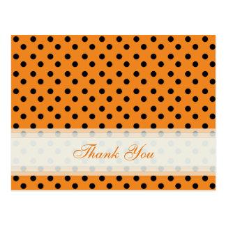 Orange with Black Polka Dot Thank You Cards Postcard