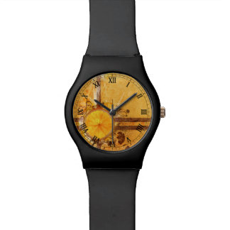 orange with butterfly vector swirl flowers art wrist watches