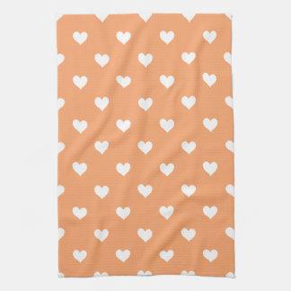 Orange With White Hearts Kitchen Towel