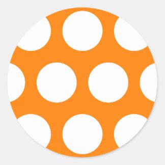 Orange with White Polka Dots Round Sticker