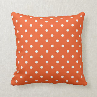 Orange with White Polka Dots Throw Pillow