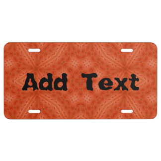 Orange wood abstract pattern license plate