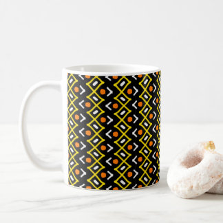 Orange Yellow and Black Abstract Tribal Pattern Coffee Mug