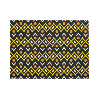 Orange Yellow and Black Abstract Tribal Pattern Doormat