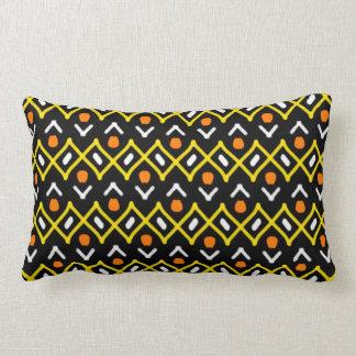 Orange Yellow and Black Abstract Tribal Pattern Lumbar Cushion